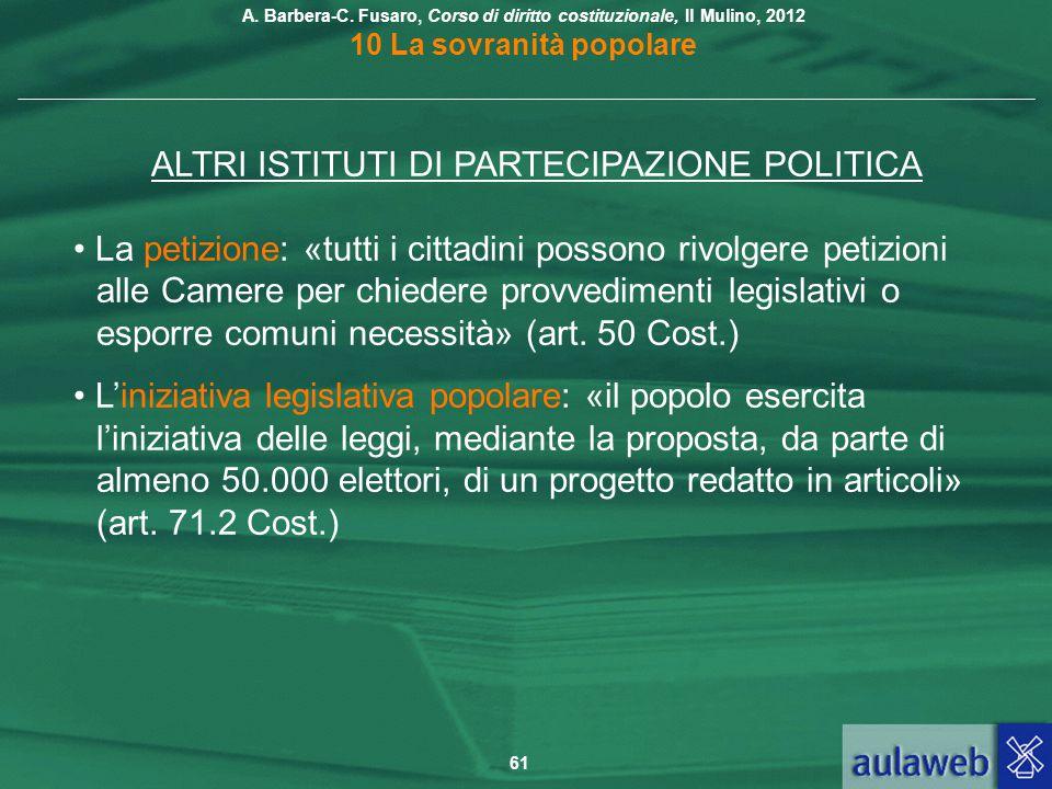 ALTRI ISTITUTI DI PARTECIPAZIONE POLITICA