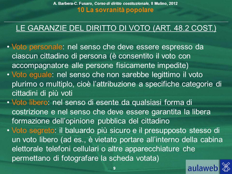 LE GARANZIE DEL DIRITTO DI VOTO (ART. 48.2 COST.)