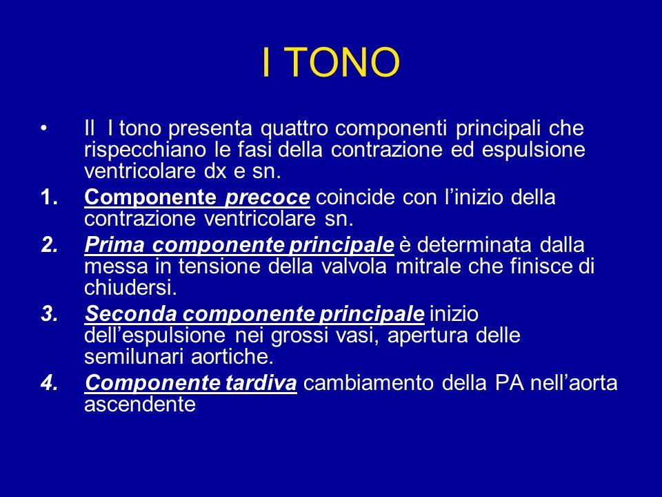 I TONO Il I tono presenta quattro componenti principali che rispecchiano le fasi della contrazione ed espulsione ventricolare dx e sn.