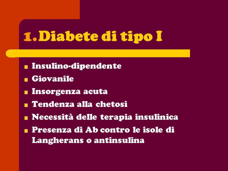 Diabete di tipo I Insulino-dipendente Giovanile Insorgenza acuta