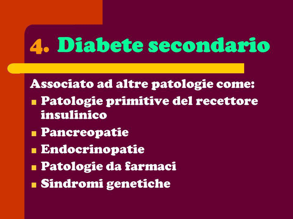 Diabete secondario Associato ad altre patologie come: