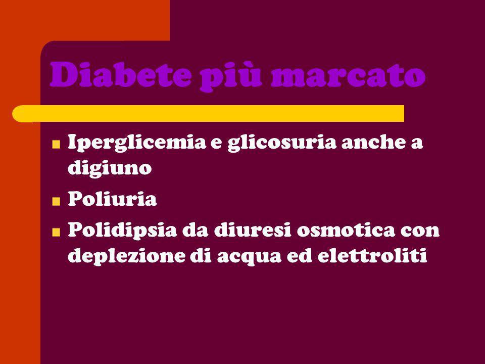 Diabete più marcato Iperglicemia e glicosuria anche a digiuno Poliuria