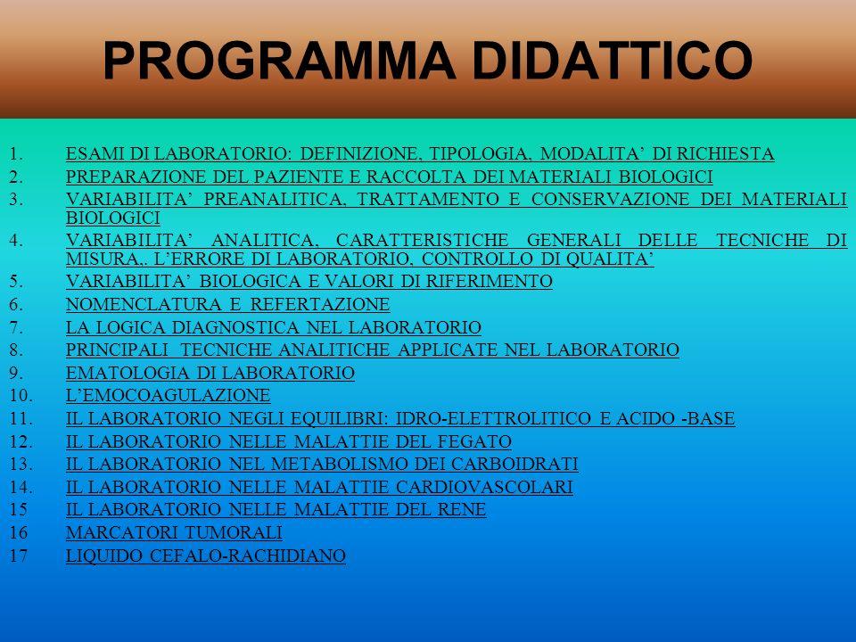 PROGRAMMA DIDATTICOESAMI DI LABORATORIO: DEFINIZIONE, TIPOLOGIA, MODALITA' DI RICHIESTA.