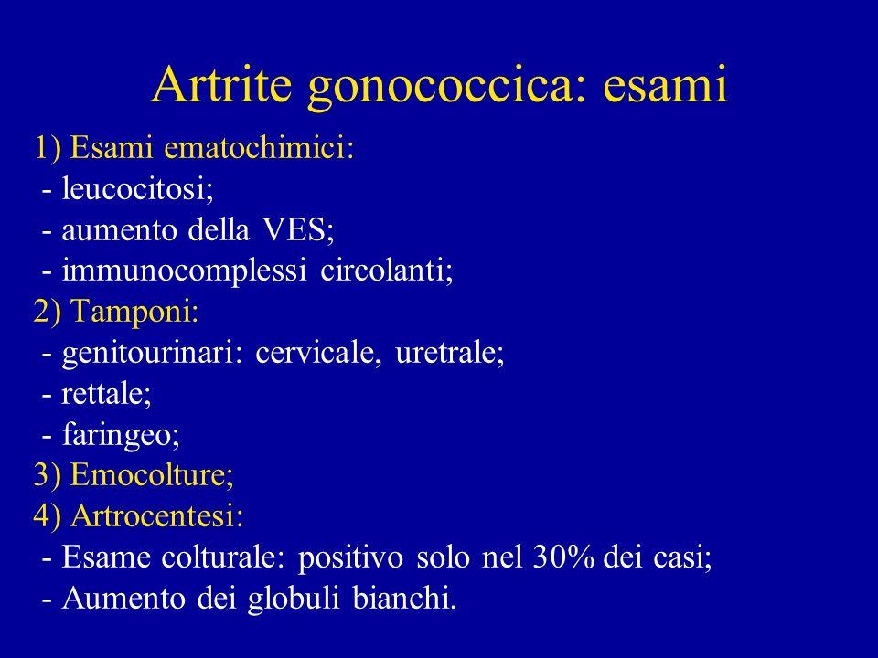 Artrite gonococcica: esami