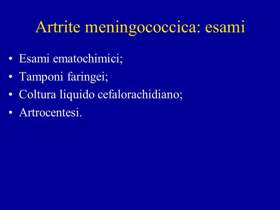 Artrite meningococcica: esami