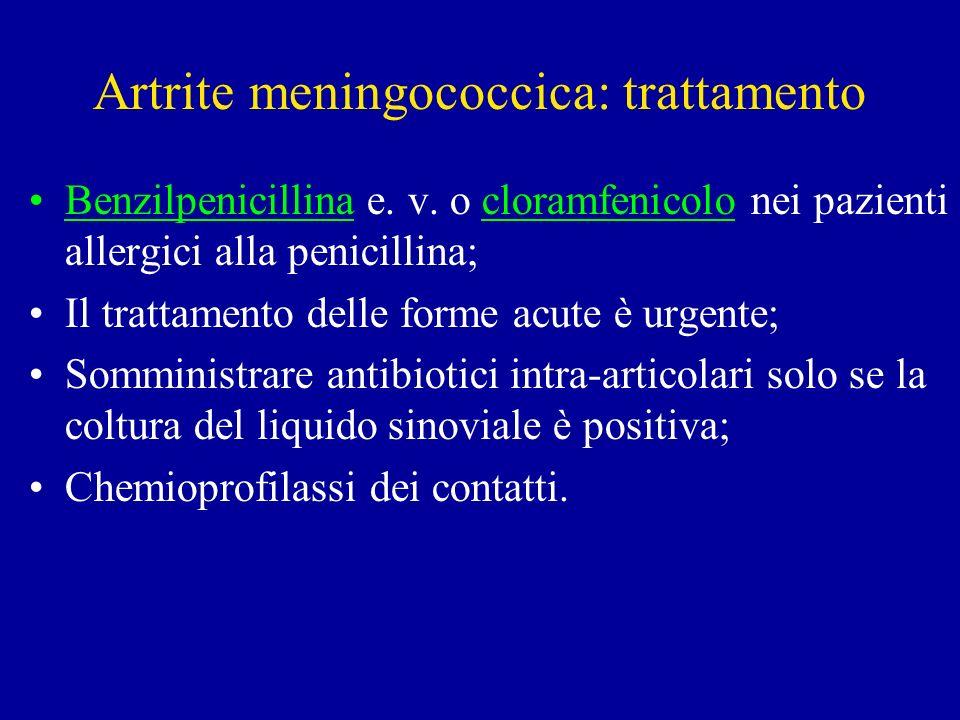 Artrite meningococcica: trattamento