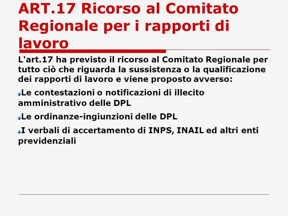 ART.17 Ricorso al Comitato Regionale per i rapporti di lavoro