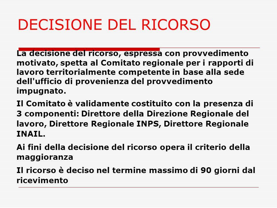 DECISIONE DEL RICORSO