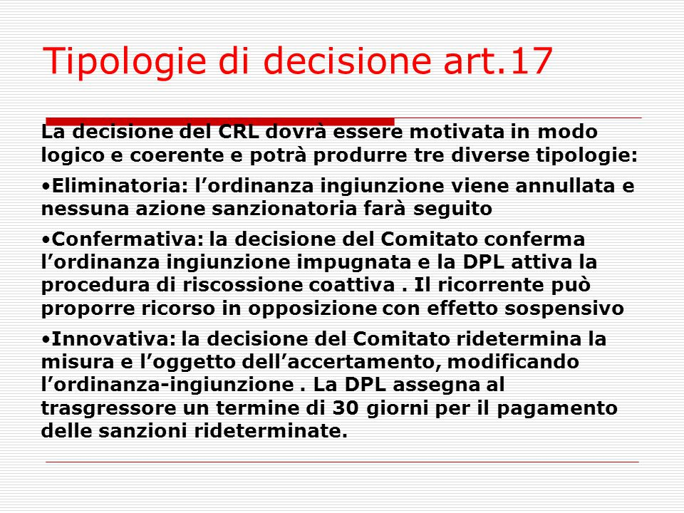 Tipologie di decisione art.17
