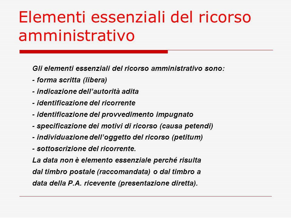 Elementi essenziali del ricorso amministrativo