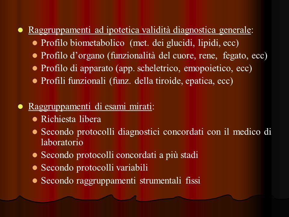 Raggruppamenti ad ipotetica validità diagnostica generale: