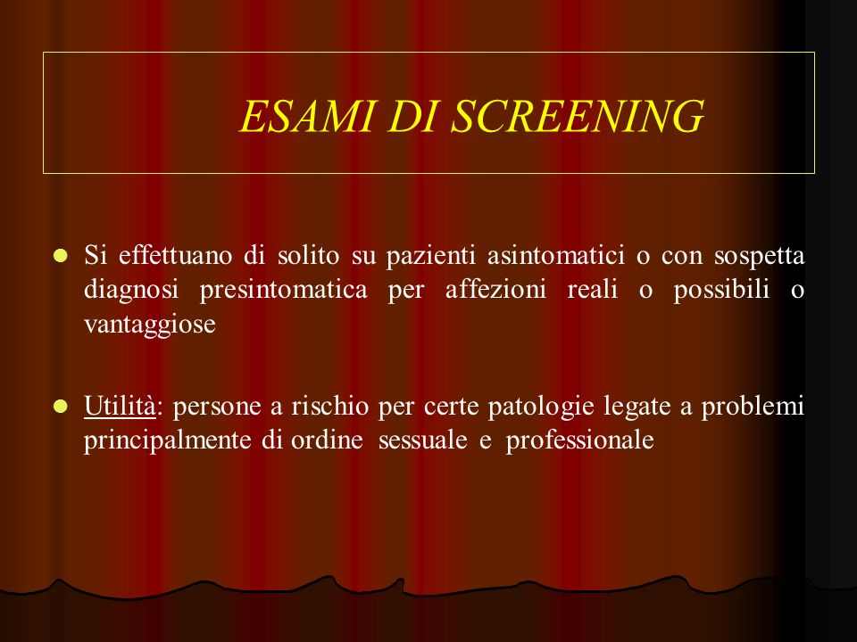 ESAMI DI SCREENING