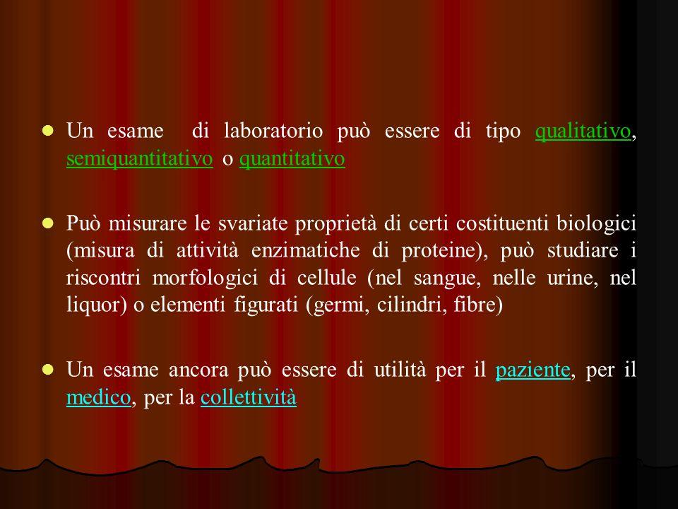 Un esame di laboratorio può essere di tipo qualitativo, semiquantitativo o quantitativo