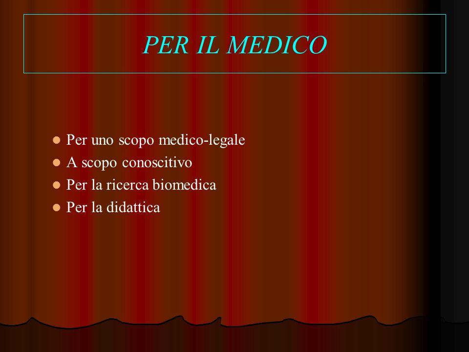 PER IL MEDICO Per uno scopo medico-legale A scopo conoscitivo