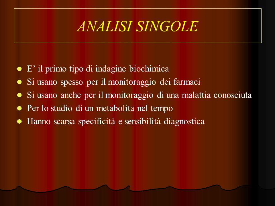 ANALISI SINGOLE E' il primo tipo di indagine biochimica