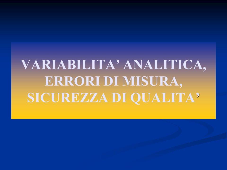 VARIABILITA' ANALITICA, ERRORI DI MISURA, SICUREZZA DI QUALITA'