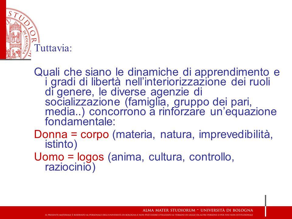 Donna = corpo (materia, natura, imprevedibilità, istinto)