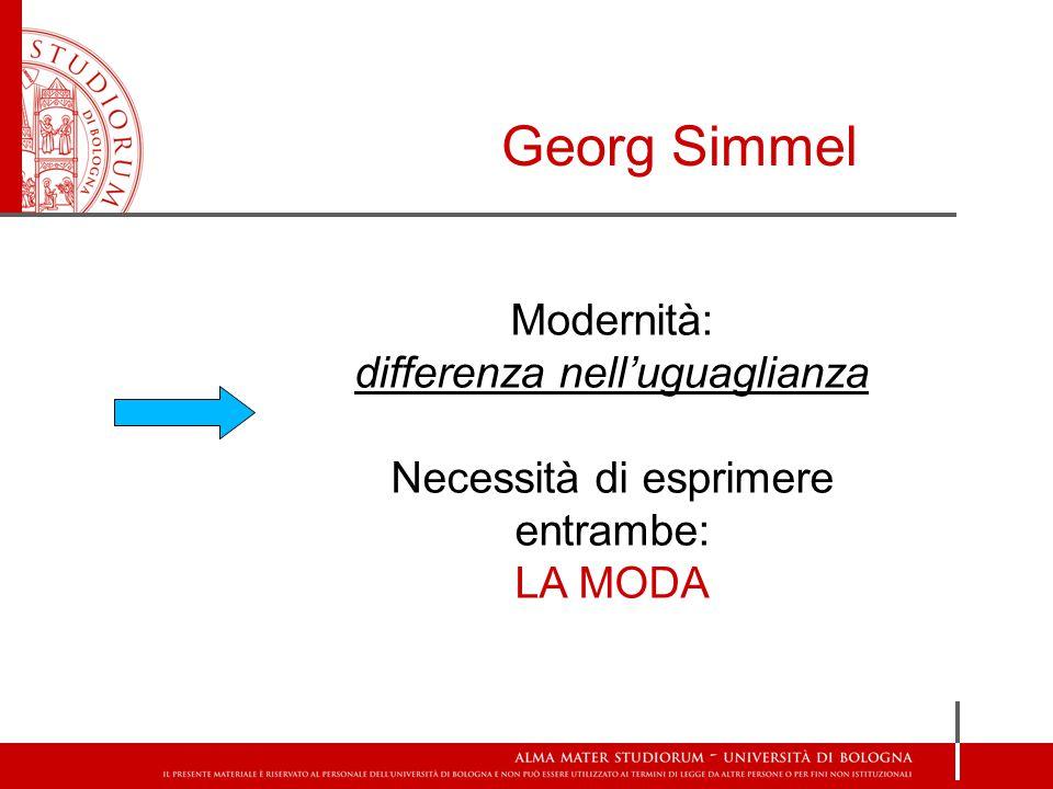 Georg Simmel Modernità: differenza nell'uguaglianza