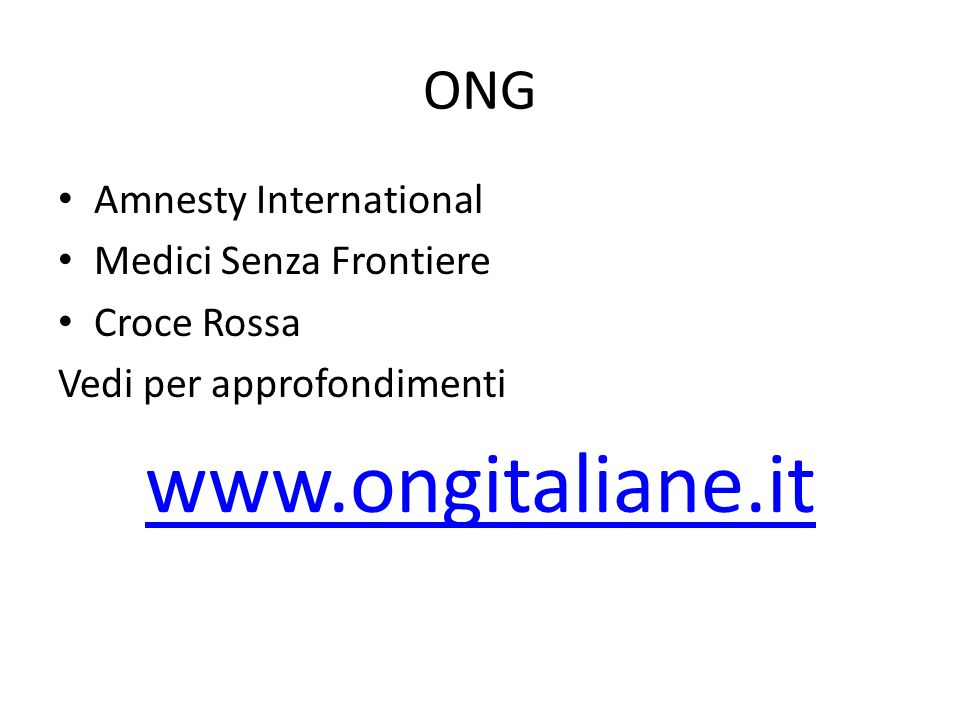 www.ongitaliane.it ONG Amnesty International Medici Senza Frontiere