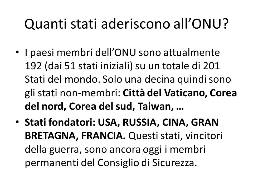 Quanti stati aderiscono all'ONU