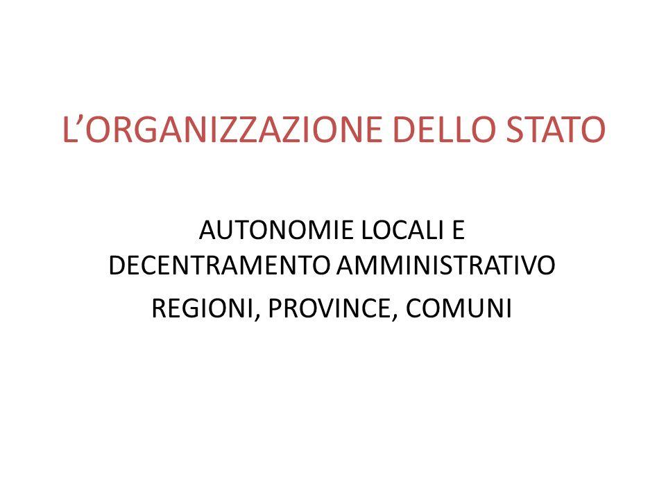 L'ORGANIZZAZIONE DELLO STATO
