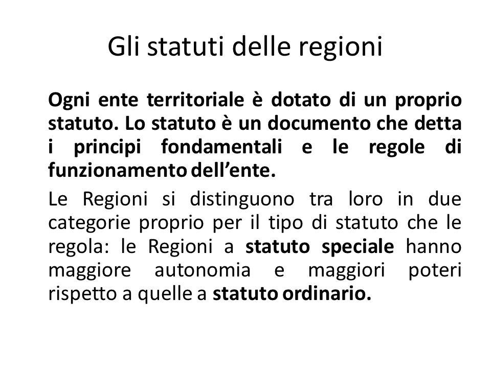 Gli statuti delle regioni