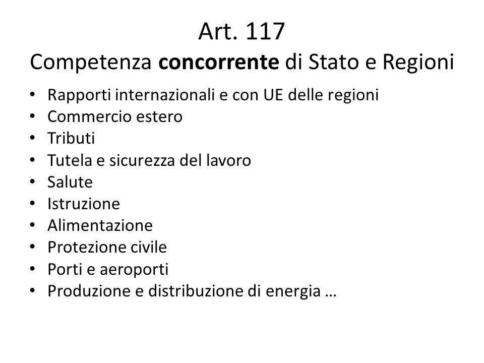 Art. 117 Competenza concorrente di Stato e Regioni