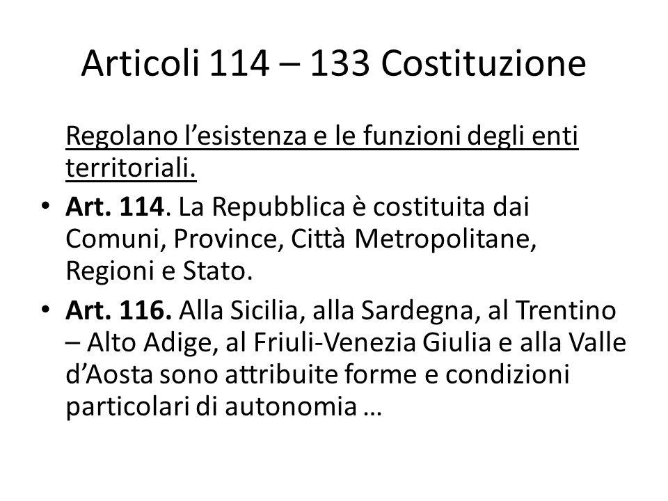 Articoli 114 – 133 Costituzione