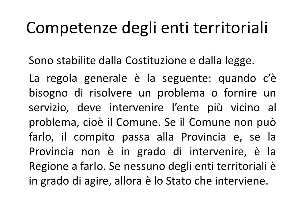 Competenze degli enti territoriali