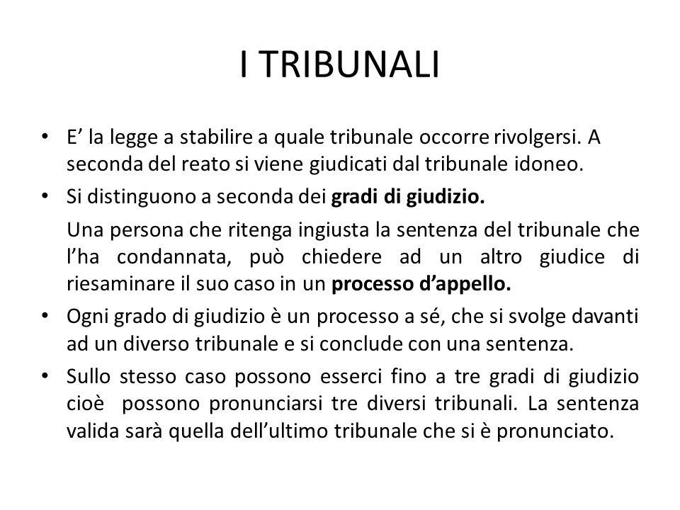 I TRIBUNALI E' la legge a stabilire a quale tribunale occorre rivolgersi. A seconda del reato si viene giudicati dal tribunale idoneo.