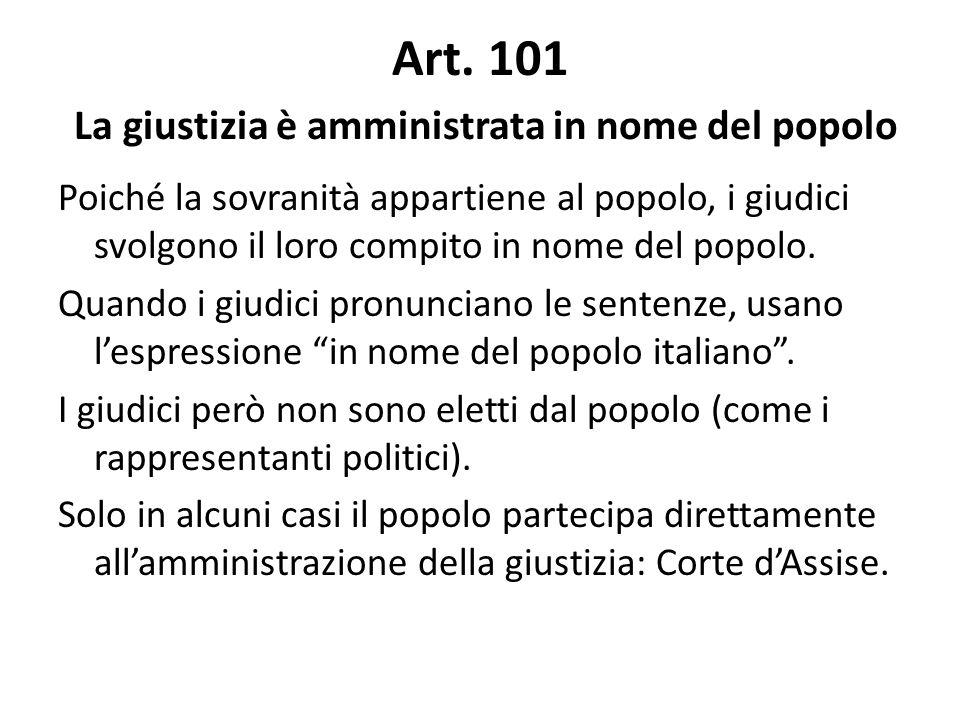 Art. 101 La giustizia è amministrata in nome del popolo