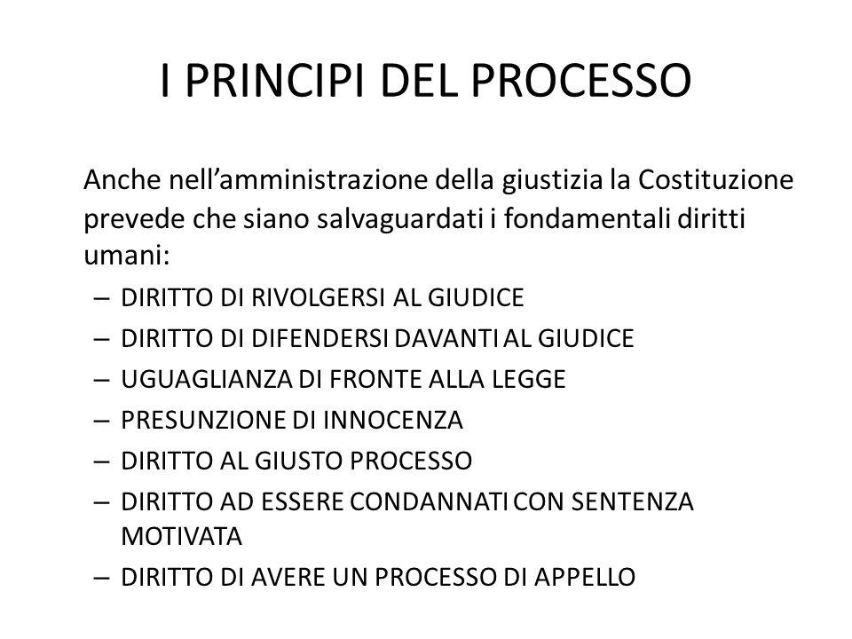 I PRINCIPI DEL PROCESSO