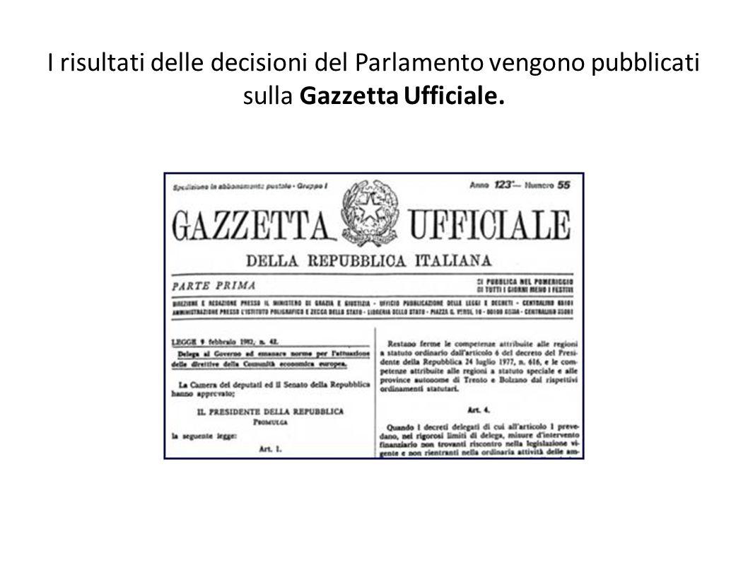 I risultati delle decisioni del Parlamento vengono pubblicati sulla Gazzetta Ufficiale.