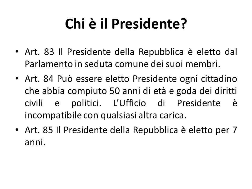 Chi è il Presidente Art. 83 Il Presidente della Repubblica è eletto dal Parlamento in seduta comune dei suoi membri.