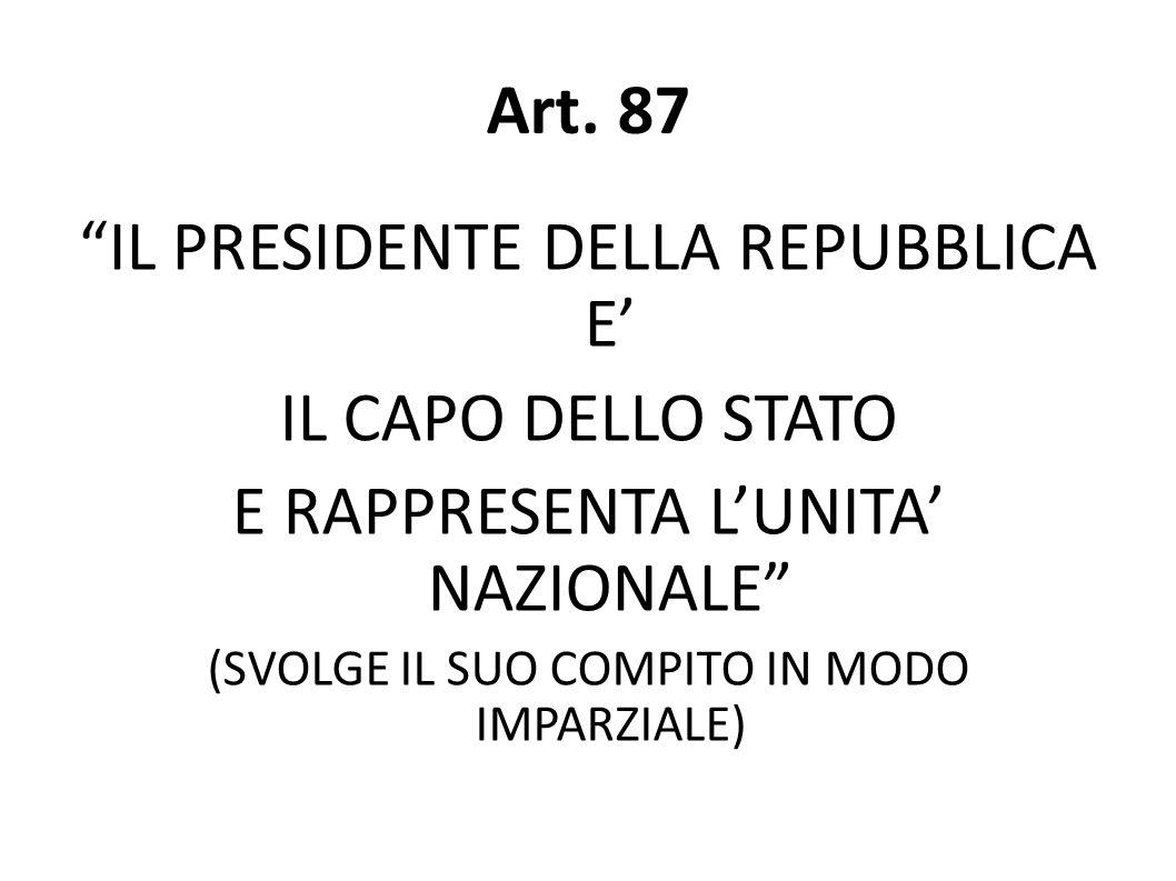 Art. 87 IL PRESIDENTE DELLA REPUBBLICA E' IL CAPO DELLO STATO