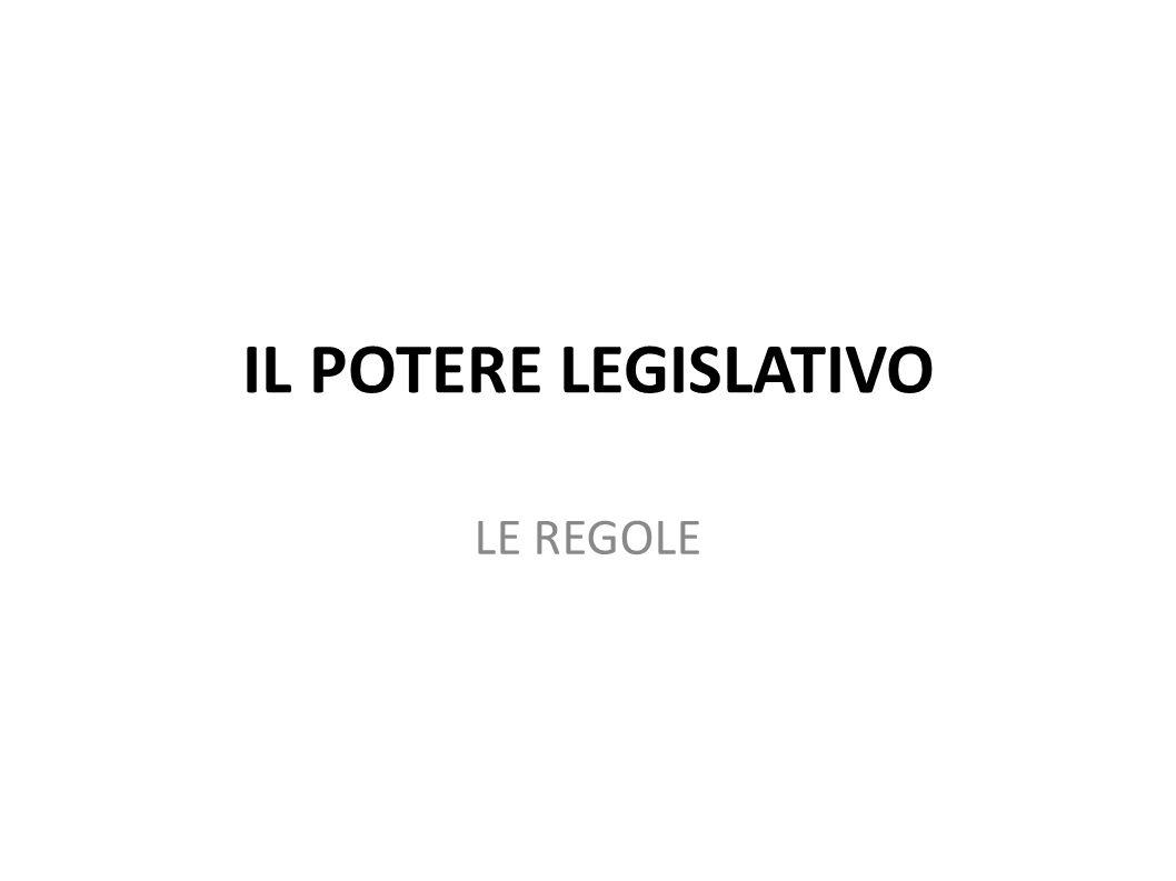 IL POTERE LEGISLATIVO LE REGOLE