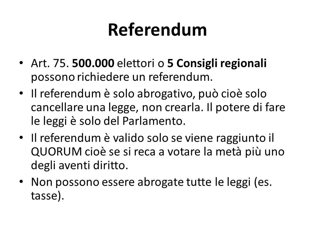 Referendum Art. 75. 500.000 elettori o 5 Consigli regionali possono richiedere un referendum.