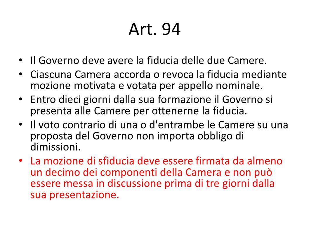 Art. 94 Il Governo deve avere la fiducia delle due Camere.