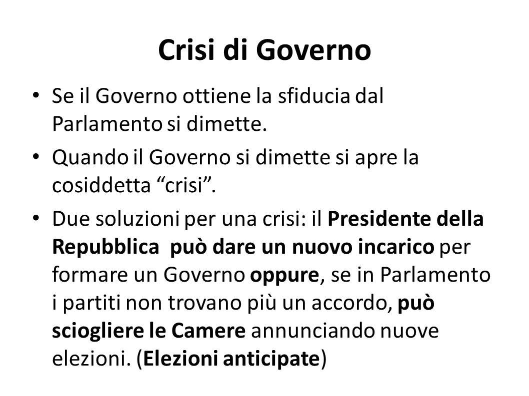 Crisi di Governo Se il Governo ottiene la sfiducia dal Parlamento si dimette. Quando il Governo si dimette si apre la cosiddetta crisi .
