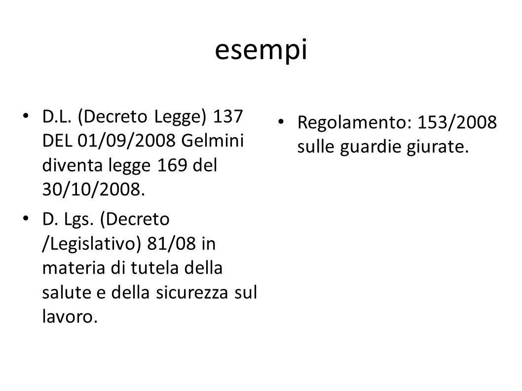 esempi D.L. (Decreto Legge) 137 DEL 01/09/2008 Gelmini diventa legge 169 del 30/10/2008.