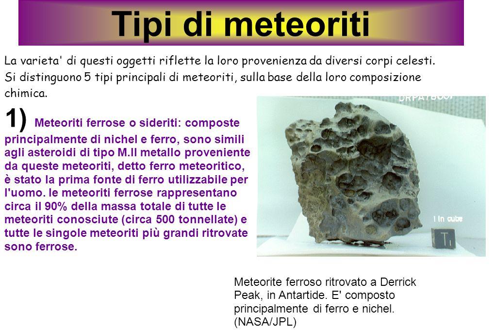 Tipi di meteoriti La varieta di questi oggetti riflette la loro provenienza da diversi corpi celesti.