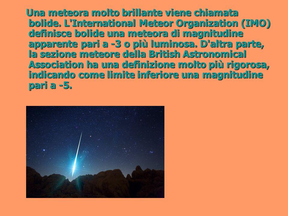 Una meteora molto brillante viene chiamata bolide