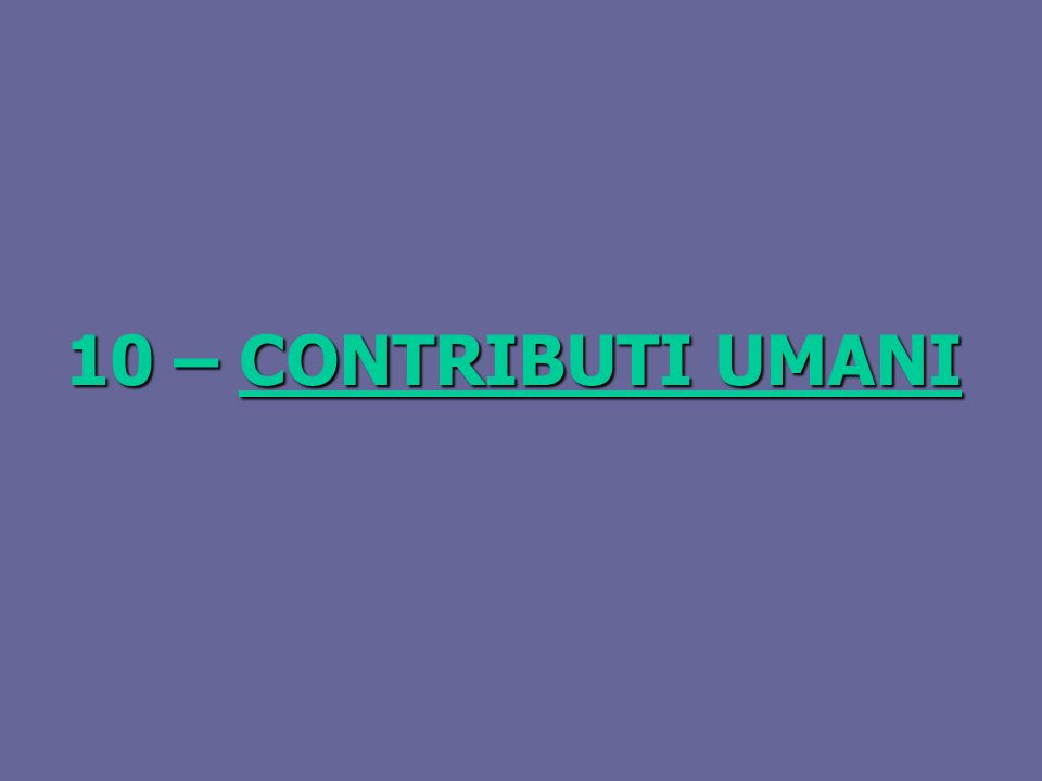 10 – CONTRIBUTI UMANI