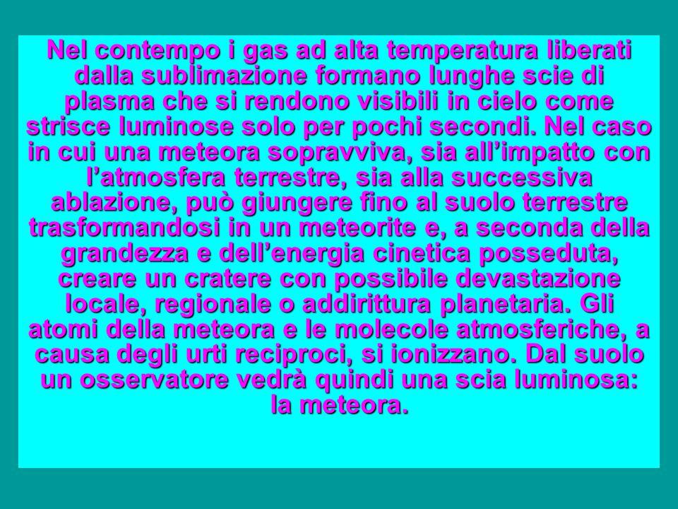 Nel contempo i gas ad alta temperatura liberati dalla sublimazione formano lunghe scie di plasma che si rendono visibili in cielo come strisce luminose solo per pochi secondi.