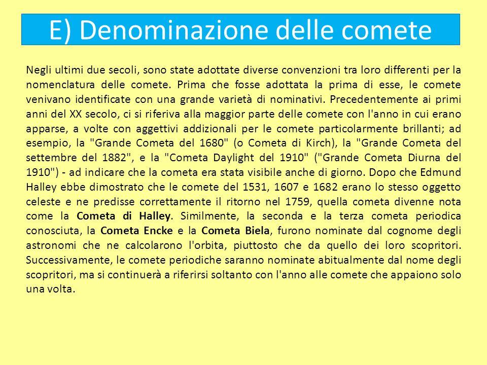 E) Denominazione delle comete