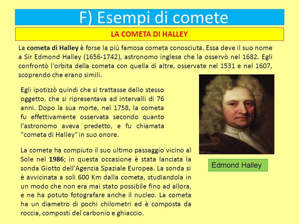 F) Esempi di comete LA COMETA DI HALLEY