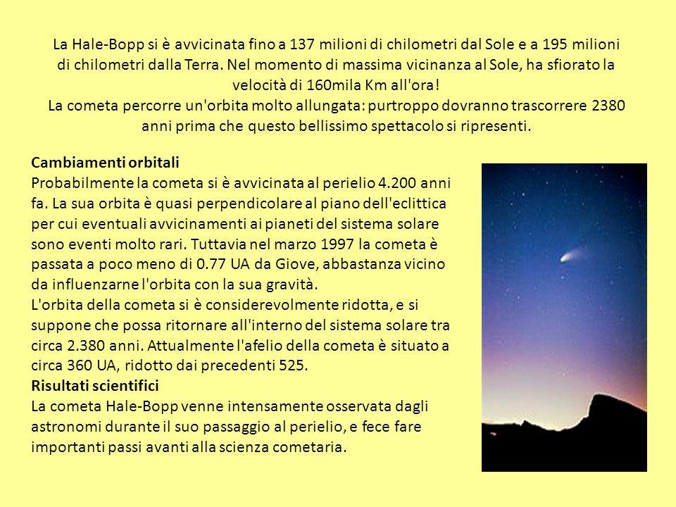 La Hale-Bopp si è avvicinata fino a 137 milioni di chilometri dal Sole e a 195 milioni di chilometri dalla Terra. Nel momento di massima vicinanza al Sole, ha sfiorato la velocità di 160mila Km all ora! La cometa percorre un orbita molto allungata: purtroppo dovranno trascorrere 2380 anni prima che questo bellissimo spettacolo si ripresenti.
