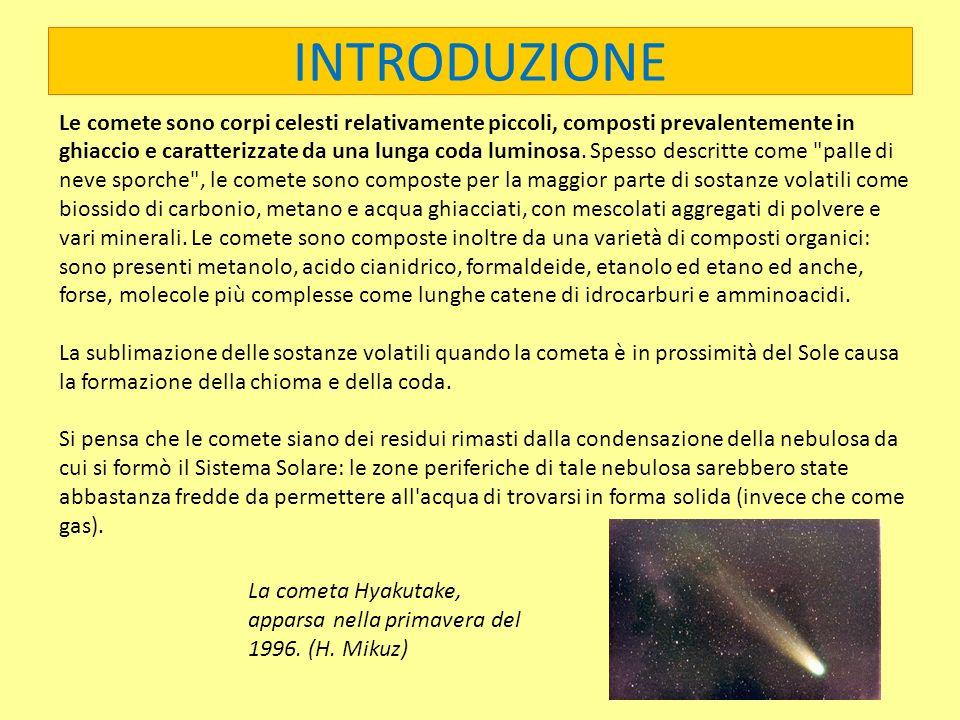 Le comete sono corpi celesti relativamente piccoli, composti prevalentemente in ghiaccio e caratterizzate da una lunga coda luminosa. Spesso descritte come palle di neve sporche , le comete sono composte per la maggior parte di sostanze volatili come biossido di carbonio, metano e acqua ghiacciati, con mescolati aggregati di polvere e vari minerali. Le comete sono composte inoltre da una varietà di composti organici: sono presenti metanolo, acido cianidrico, formaldeide, etanolo ed etano ed anche, forse, molecole più complesse come lunghe catene di idrocarburi e amminoacidi.
