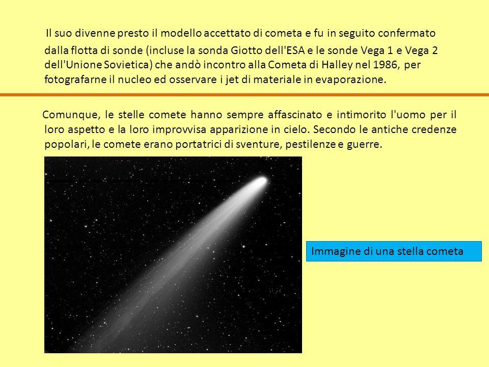 Il suo divenne presto il modello accettato di cometa e fu in seguito confermato dalla flotta di sonde (incluse la sonda Giotto dell ESA e le sonde Vega 1 e Vega 2 dell Unione Sovietica) che andò incontro alla Cometa di Halley nel 1986, per fotografarne il nucleo ed osservare i jet di materiale in evaporazione.
