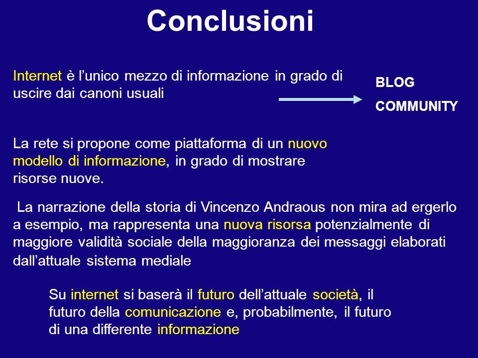 Conclusioni Internet è l'unico mezzo di informazione in grado di uscire dai canoni usuali. BLOG. COMMUNITY.